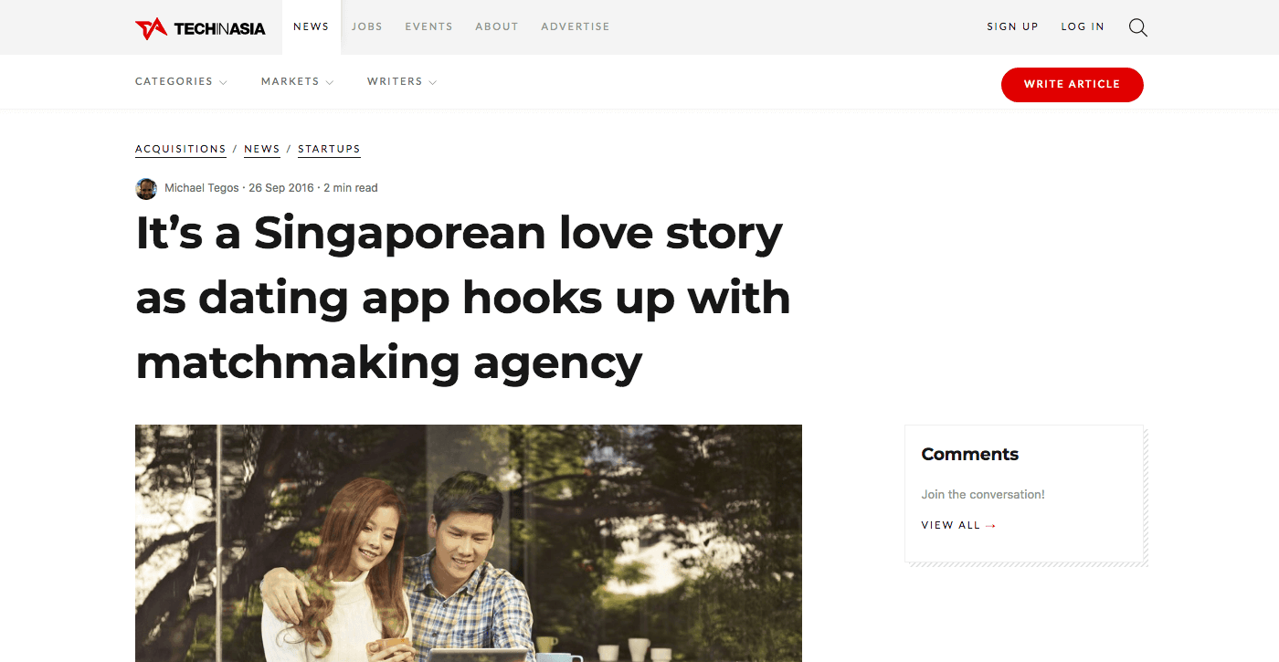 It's a Singaporean love story as dating app hooks up with matchmaking agency
