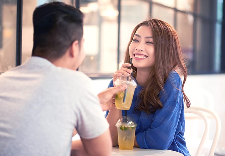 man and woman dating