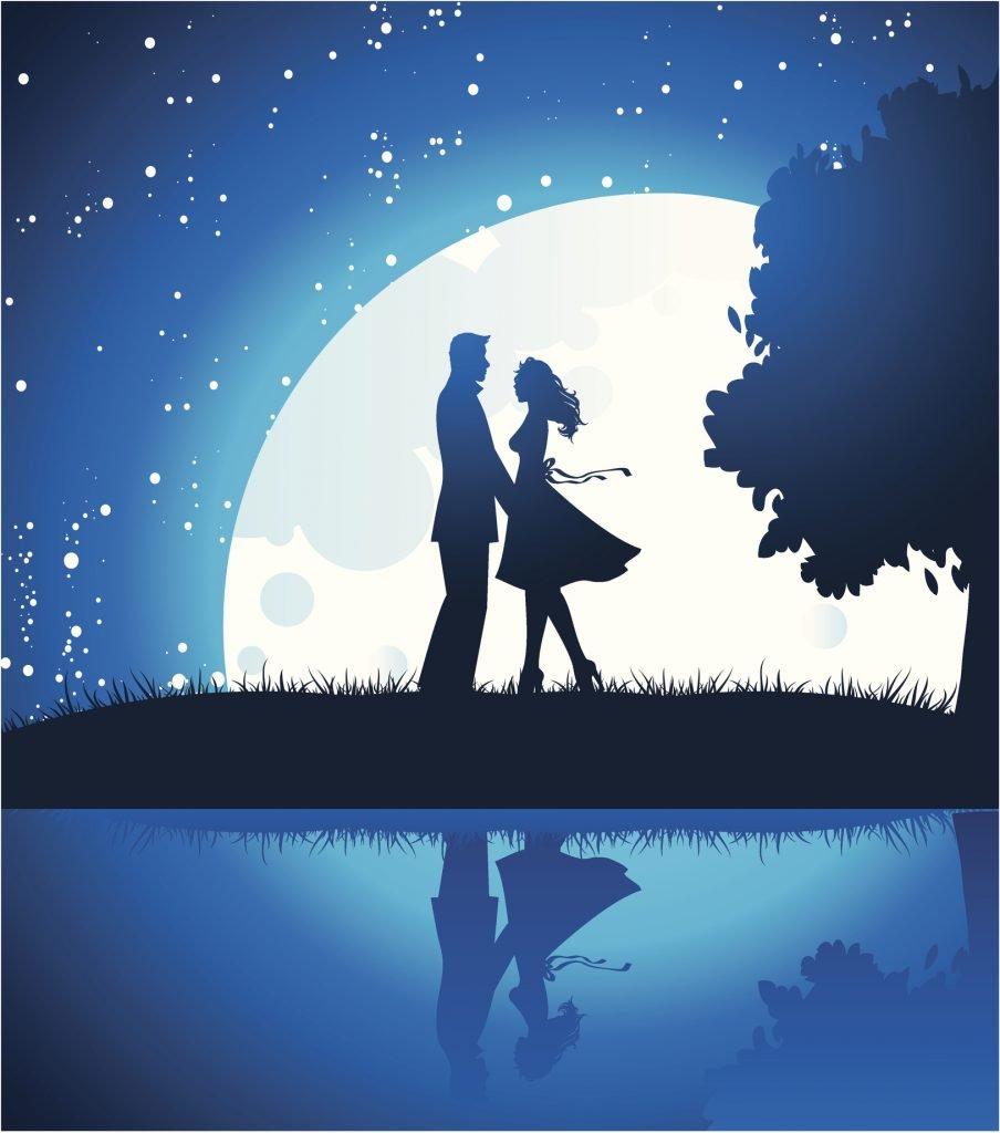 Lovers in night, vector