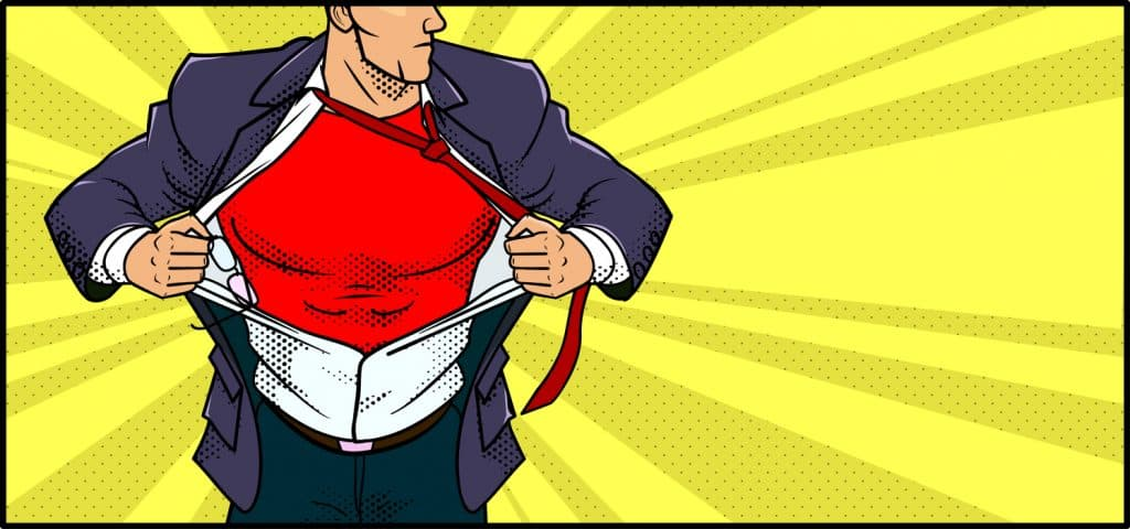 A retro comic book style vector banner illustration of a man ripping his shirt transforms into superhero. Spaces available for your copy. Perfect for website header or banner.